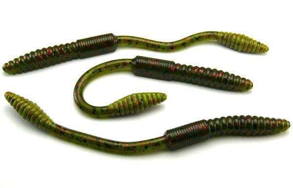 "Big Bite 4.5"" Squirrel Tail Worm - Watermelon/Red Flake (10pcs)"