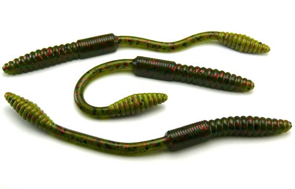 "Big Bite 4.5"" Squirrel Tail Worm - Watermelon/Red Flake (10pcs)"