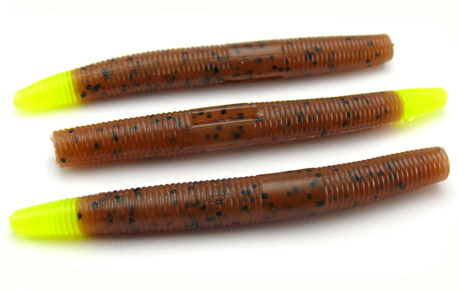"AGM 3"" Stick Worm - Pumpkinseed/Chartreuse Tip (10pcs)"