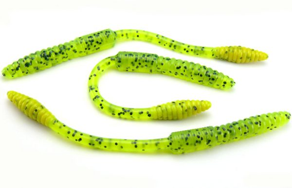 "Big Bite 4.5"" Squirrel Tail Worm - Chartreuse Pepper (10pcs)"