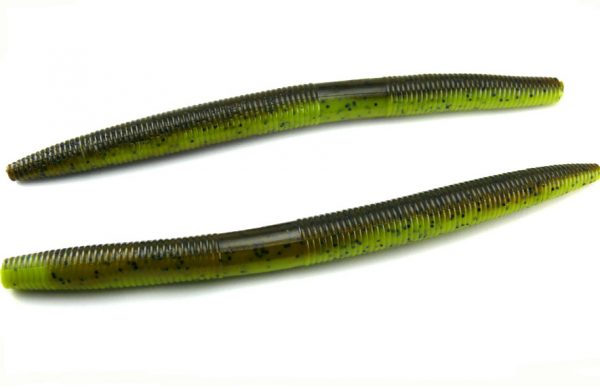 "AGM 7"" Stick Worm - Green Pumpkin/Chartreuse (6pcs)"