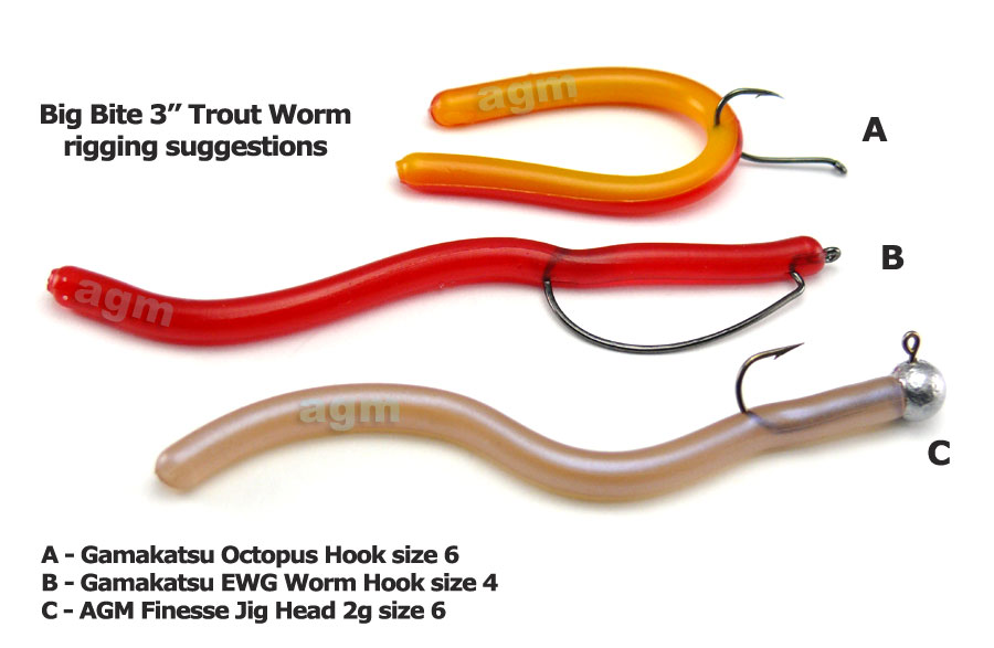 "Big Bite 3"" Trout Worm - Red/Yellow (10pcs)"