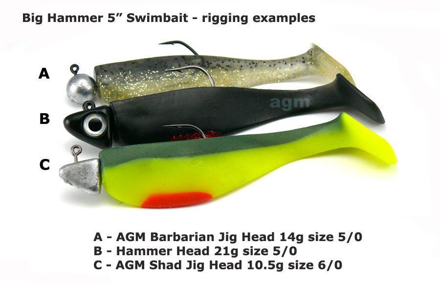 "Big Hammer 5"" Hand Poured Swimbait - Creeping Death (4pcs)"
