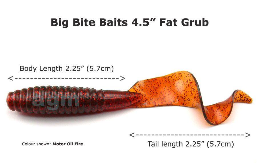 """Big Bite 4.5"""" Fat Grub - Motor Oil Fire (5pcs)"""