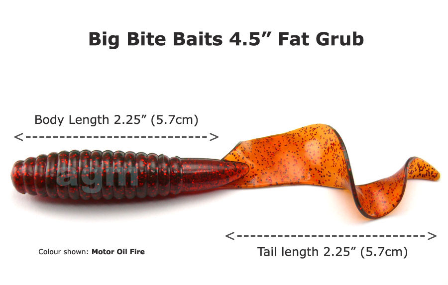 "Big Bite 4.5"" Fat Grub - Motor Oil Fire (5pcs)"