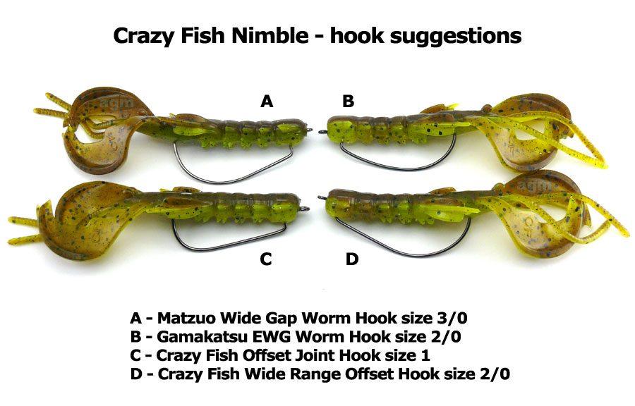 """Crazy Fish 4"""" Nimble - 4D Swamp Chartreuse (9pcs)"""