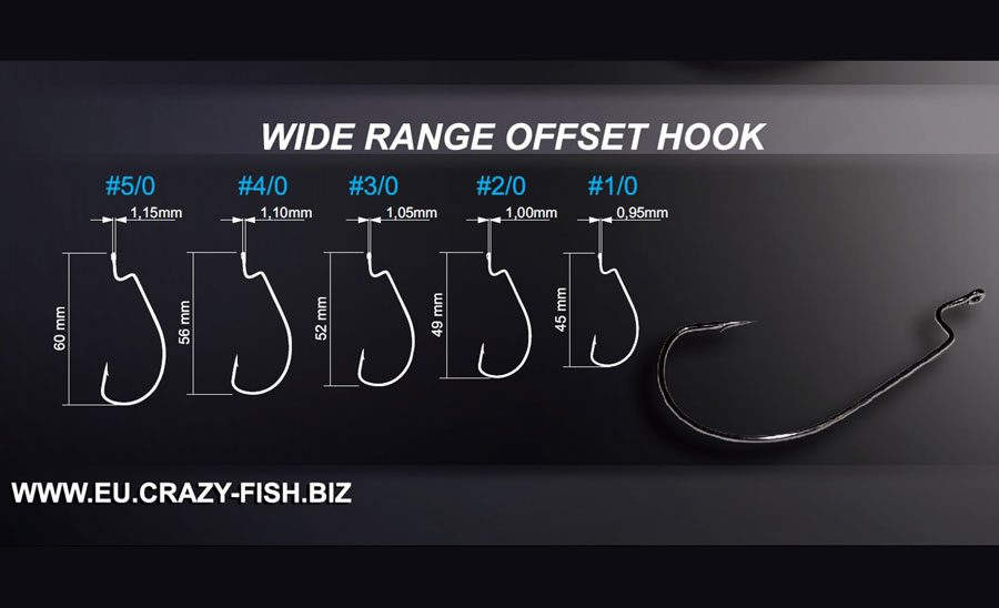 Crazy Fish Wide Range Offset Hook - Size 3/0 (7pcs)