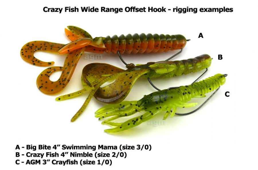 Crazy Fish Wide Range Offset Hook - Size 3/0 (7pcs)