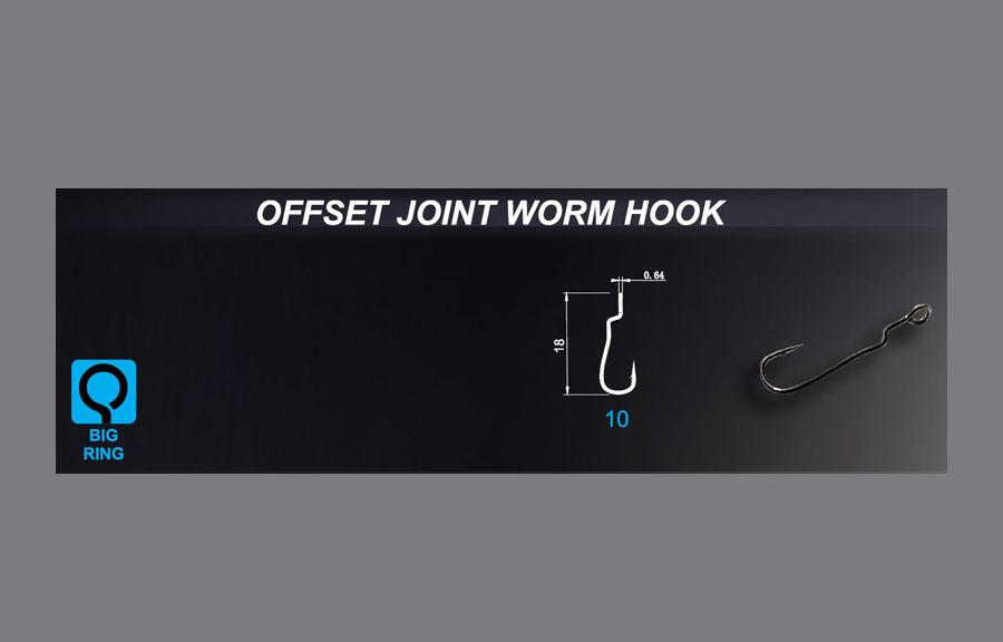 Crazy Fish Offset Joint Worm Hook - Size 10 (15pcs)