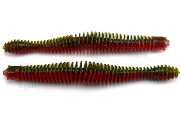"Big Bite 4.75"" Coontail Worm - Green Pumpkin/Texas Red (7pcs)"