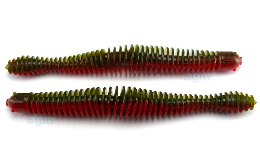 "Big Bite 4.75"" Coontail Worm - Green Pumpkin/Texas Red (7pcs)"