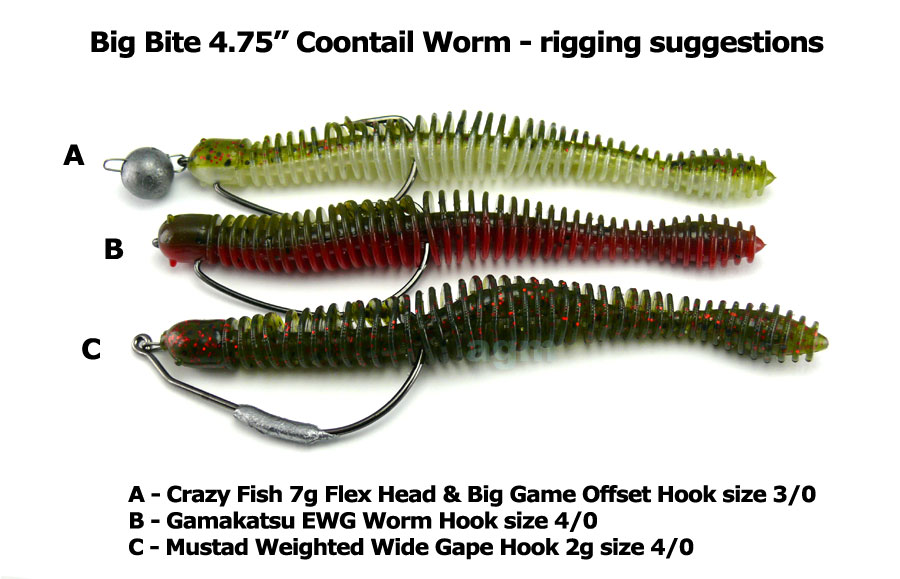 "Big Bite 4.75"" Coontail Worm - Watermelon Red Flake (7pcs)"