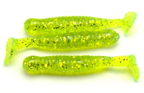 "AGM 1.5"" Paddler Grub - Chartreuse Flash (10pcs)"