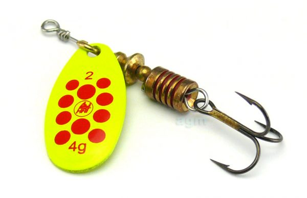 Hester Ospray Spinner 4g - Chartreuse/Red Spots