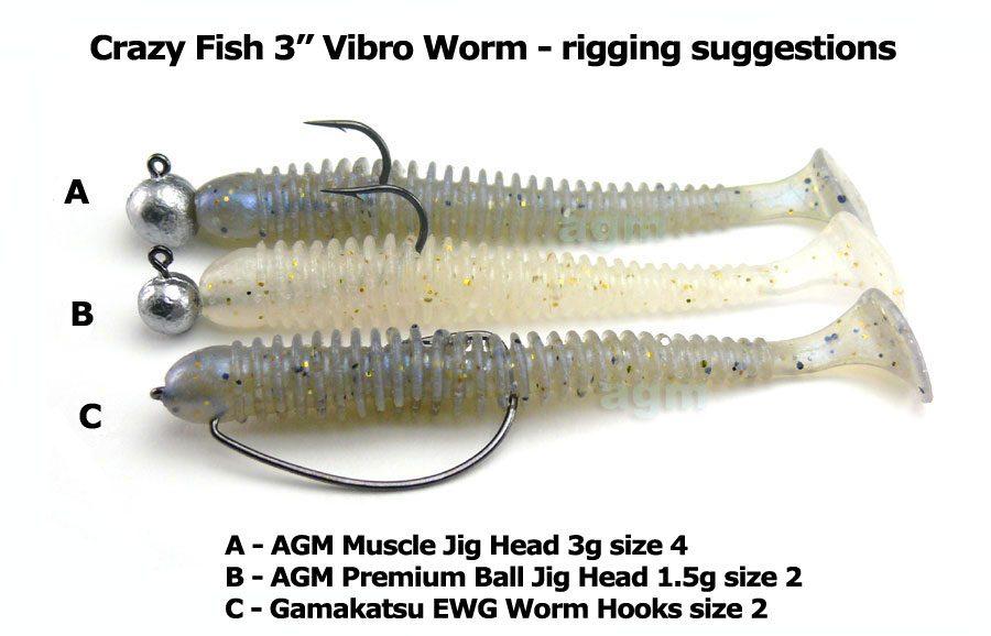 "Crazy Fish 3"" Vibro Worm - 64 Fluo Orange (5pcs)"