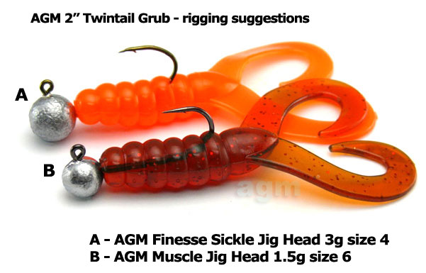 "AGM 2"" Twintail Grub - White (10pcs)"