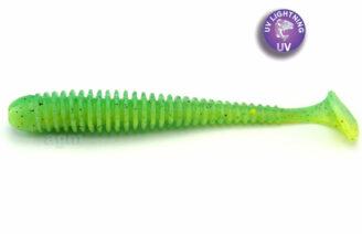 "Crazy Fish 3.4"" Floating Vibro Worm - 7D Lime Chartreuse (5pcs)"