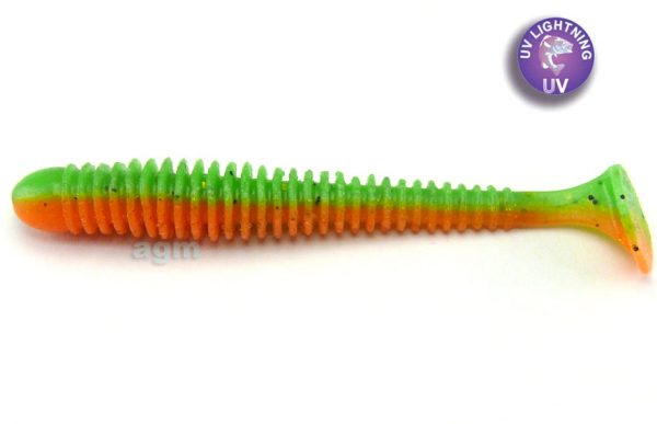 "Crazy Fish 3.4"" Floating Vibro Worm - 5D Orange Chart. (5pcs)"