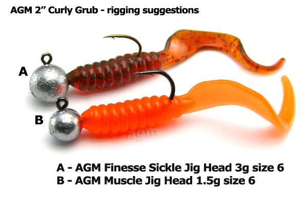 "AGM 2"" Curly Grub - Pearl (20pcs)"