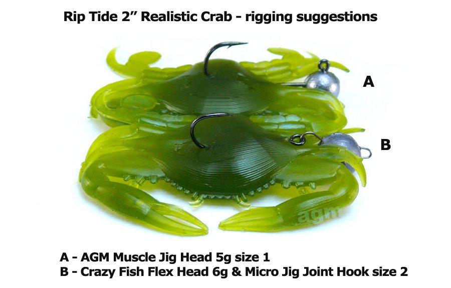 """Rip Tide 2"""" Realistic Crab - Crab (4pcs)"""