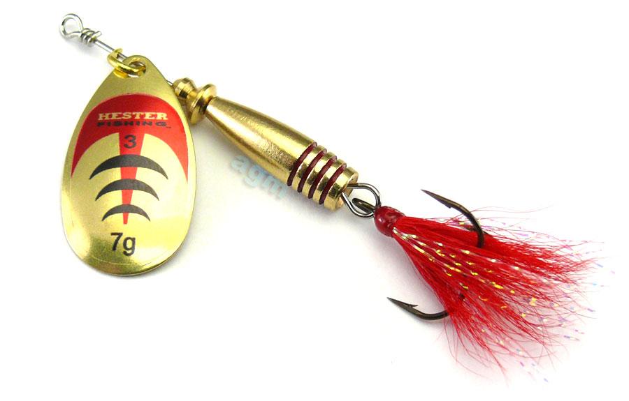 Hester Vortex Dressed Spinner 7g - Brass/Red