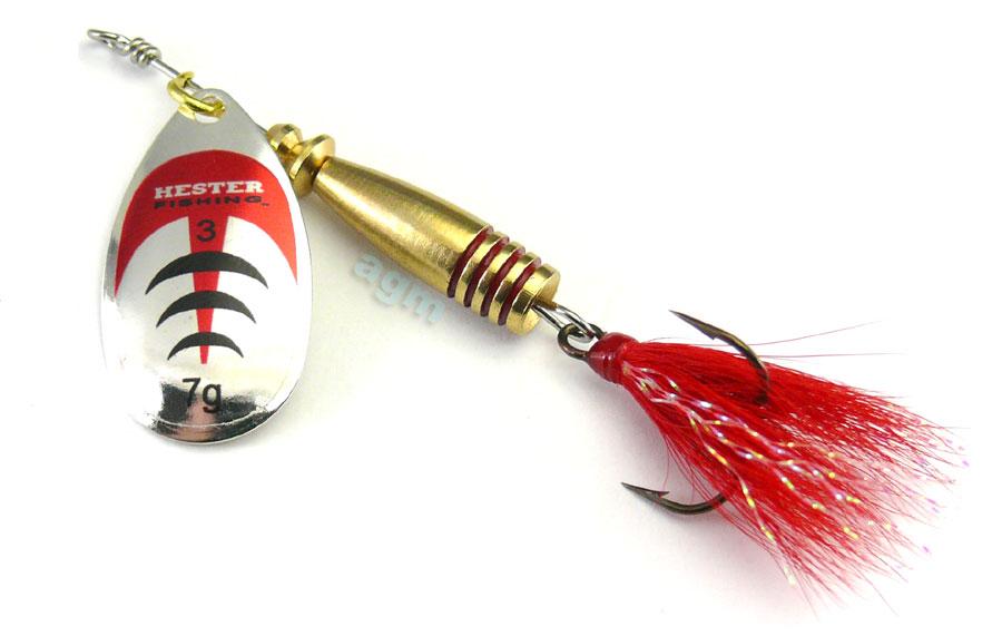 Hester Vortex Dressed Spinner 7g - Silver/Red