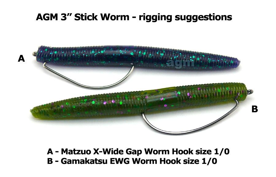 "AGM 3"" Stick Worm - Green Pumpkin (10pcs)"