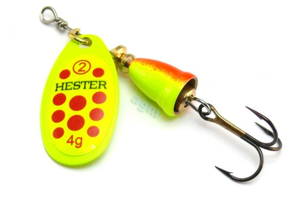 Hester Bell Spinner 4g - 15 Chartreuse/Red Spots