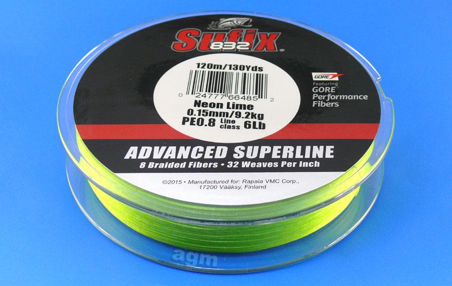 Sufix 832 Braid 9.2kg/20lb (120mtrs) - Neon Lime