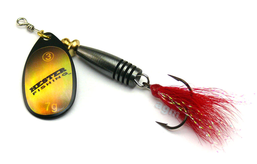 Hester Vortex Dressed Spinner 7g - Black/Gold Holo/Red