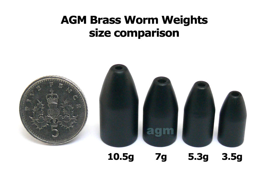 AGM Brass Worm Weight 3.5g - Matt Black (10pcs)
