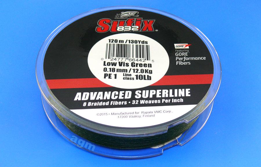 Sufix 832 Braid 12kg/26lb (120mtrs) - Low Vis Green