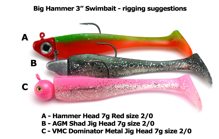 "Big Hammer 3"" Swimbait - Silver Phantom (5pcs)"