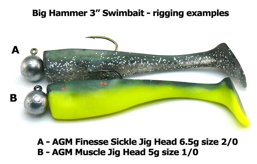 "Big Hammer 3"" Swimbait - Silver Phantom (5pcs)"