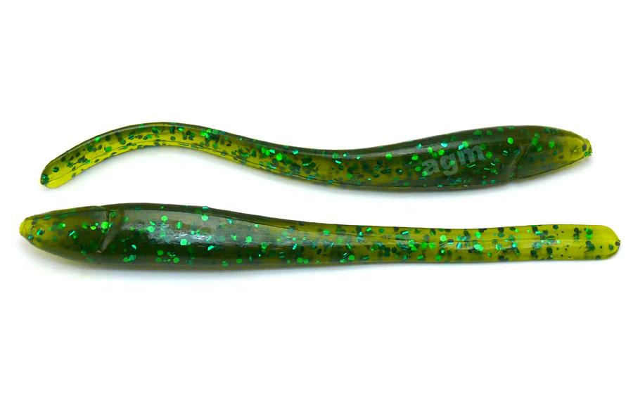 "Culprit Zeal 4"" Straight Worm - Clear Melon/Green Flake (10pcs)"